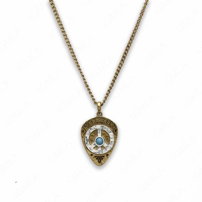 18″ Zinc Alloy Gold Burnish with Silver Burnish Peace Sign Necklace
