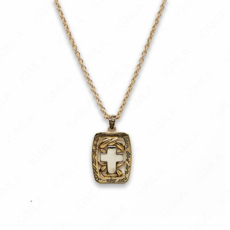 18″ Zinc Alloy Gold Tone with Nickel Cross with Rectangle Frame Necklace
