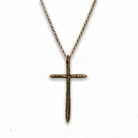 18″ Zinc Alloy Gold Burnished Tone Cross Necklace