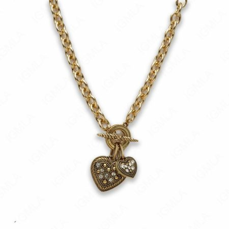 Zinc Alloy Gold Burnish Tone Heart Necklace