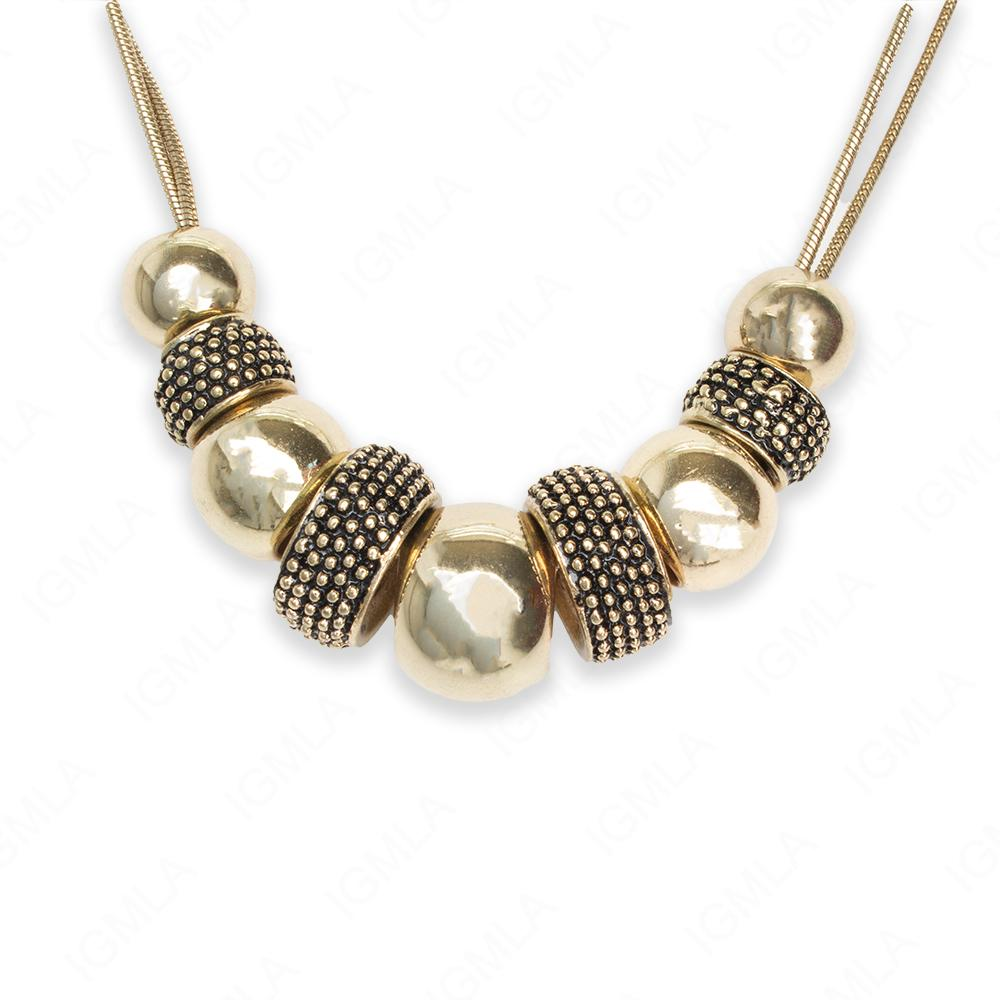 Zinc Alloy Gold Burnished Tone Round with Rondell Spacers Necklace