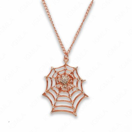 Zinc Alloy Rose Gold Tone Spider with Web Necklace