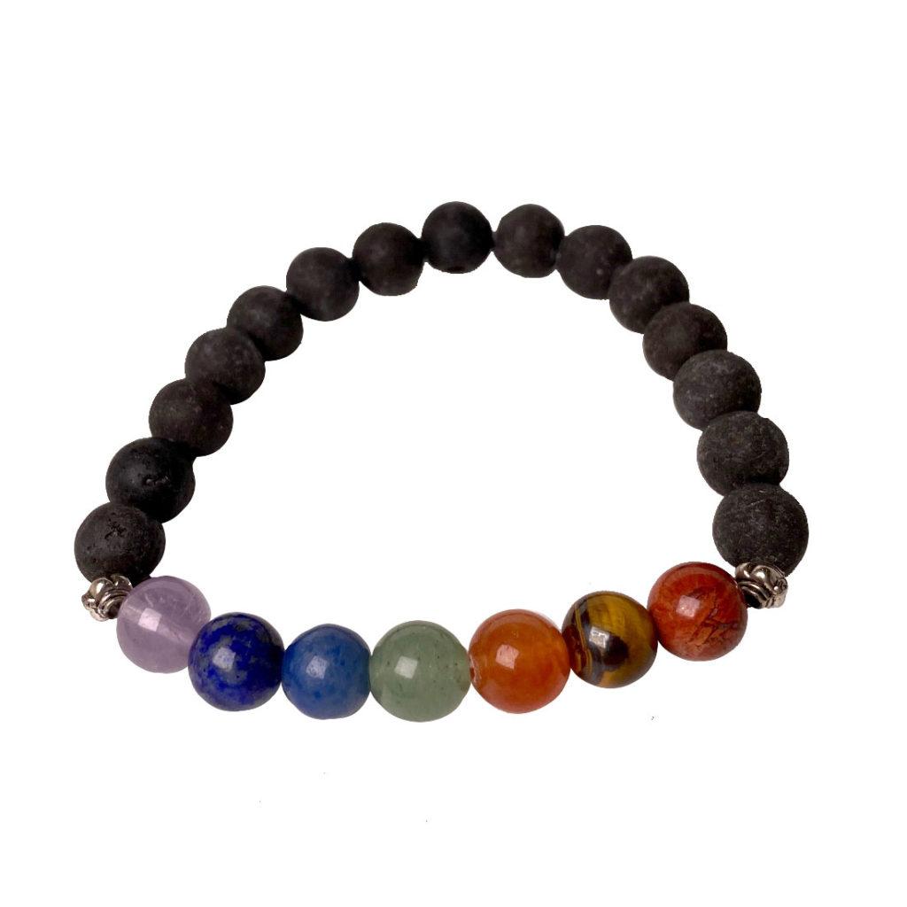 Seven stones of the chakras & Lava stone, 10mm round bead bracelet