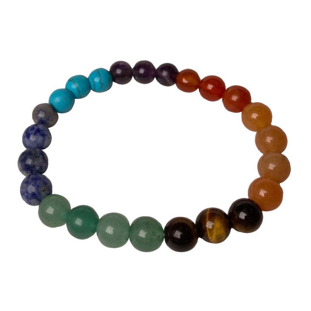 Seven stones of the chakras 8mm round bead bracelet