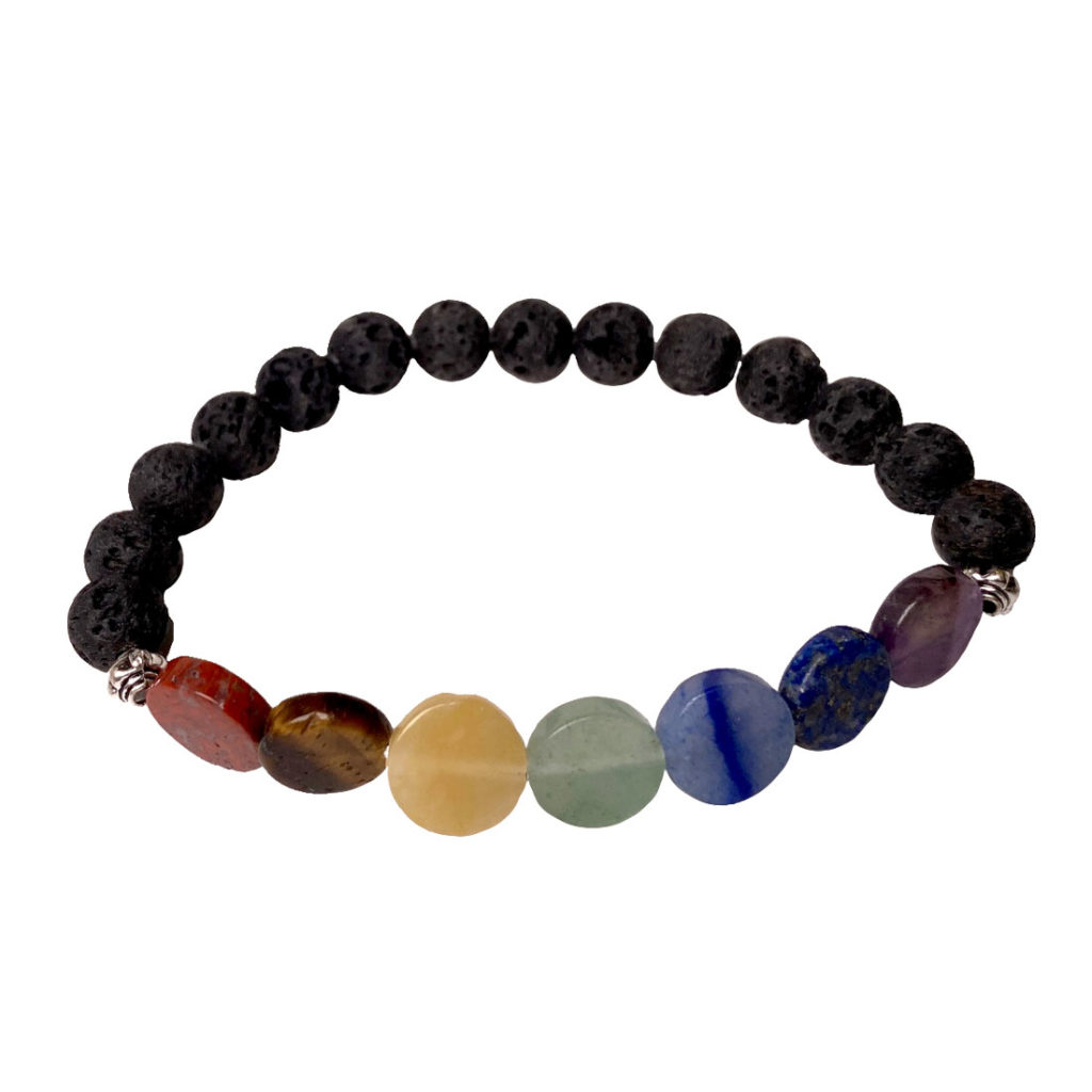 Seven stones of the chakras + Lava stone 8mm round & 10mm coin bead bracelet