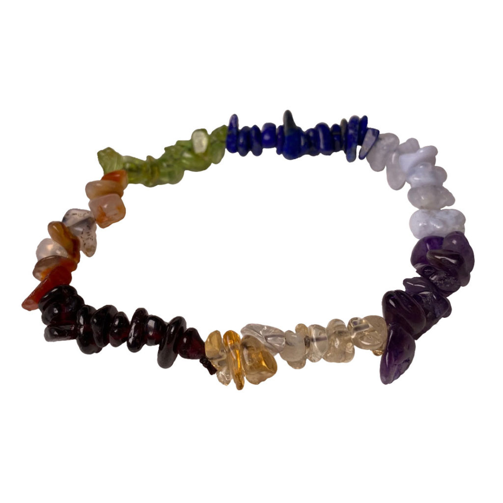Seven stones of the chakras, chip bracelet