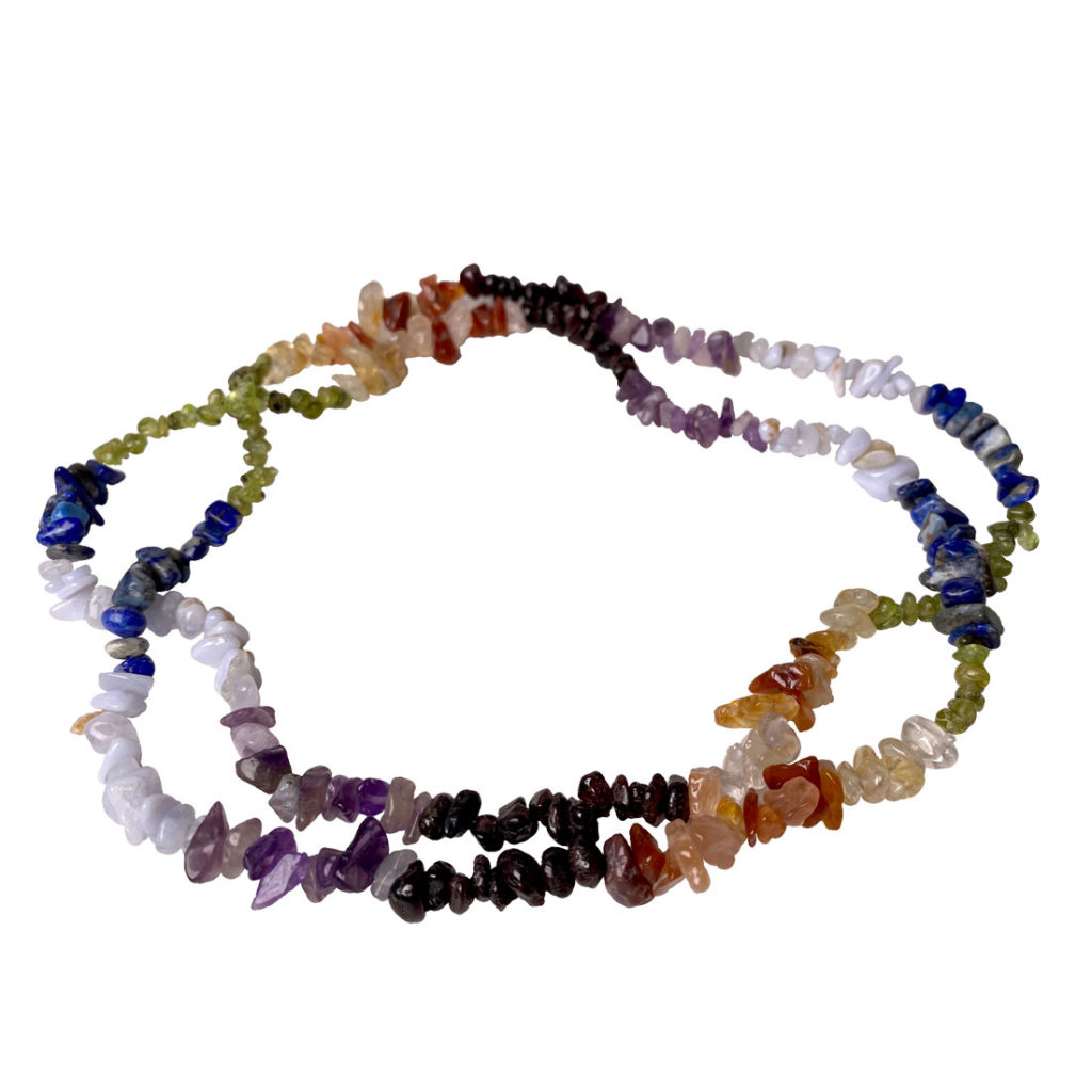 Seven stones of the chakras, chip bead necklace