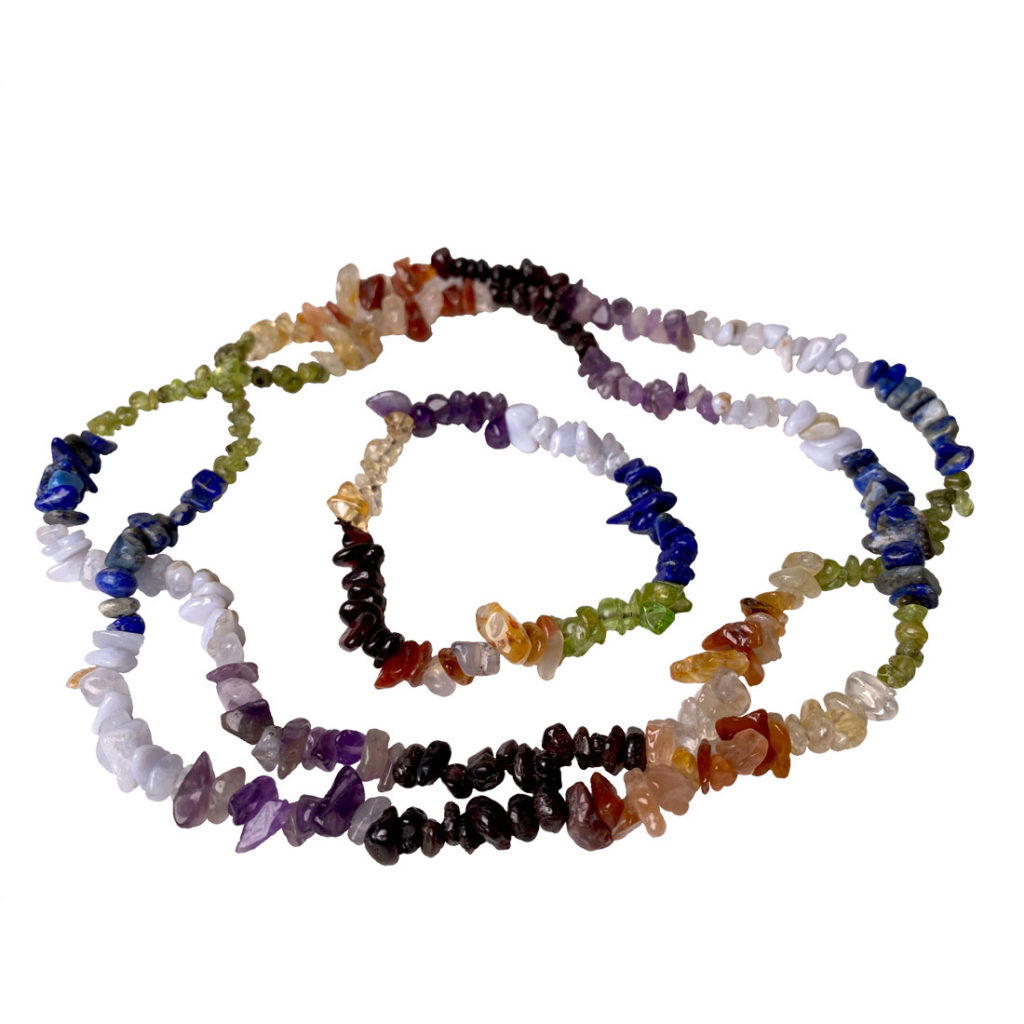 Seven stones of the chakras, chip bead bracelet and necklace set